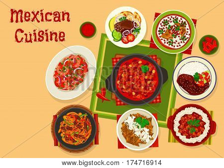 Mexican cuisine icon of beef tomato bean stew, corn tortilla chips with cheese, chicken with chilli fruit sauce, shrimp salad, beef steak with chilli sauce, beef fajitas, stuffed pepper in cream sauce