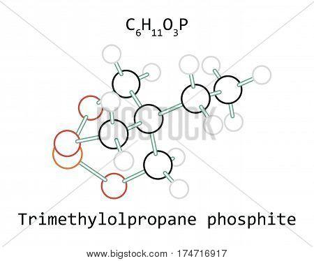 molecule C6H11O3P Trimethylolpropane phosphite isolated on white