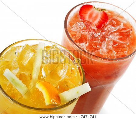 Fruits and Berries Smoothies Isolated on White Background