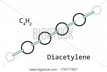 molecule C4H2 Diacetylene isolated on white in vector