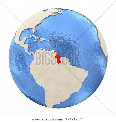 Guyana In Red On Full Globe Isolated On White