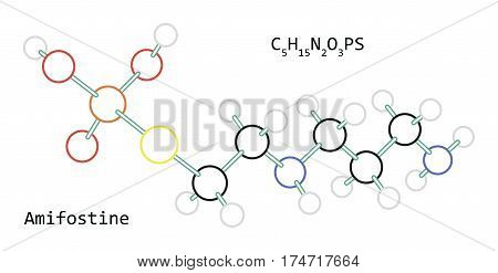 molecule C5H15N2O3PS Amifostine isolated on white in vector