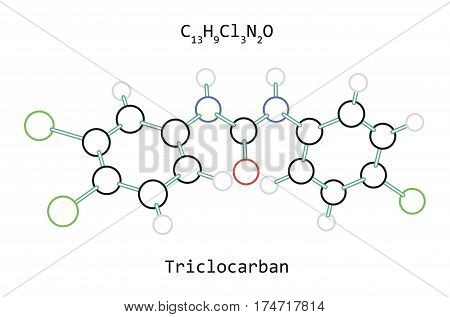 molecule C13H9Cl3N2O Triclocarban isolated on white in vector