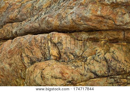 A rock with a beautiful texture and pattern in Vung Lam Bay Vietnam.