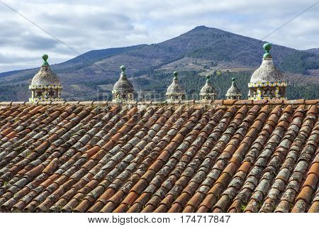 Parador Inn historic building roof Guadalupe Caceres Extremadura Spain