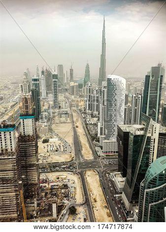 Aerial view of the Burj Khalifa in Dubai