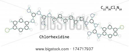 molecule C22H30Cl2N10 Chlorhexidine isolated on white in vector