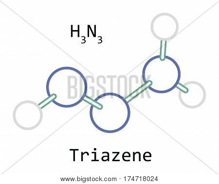 molecule H3N3 Triazene isolated on white in vector