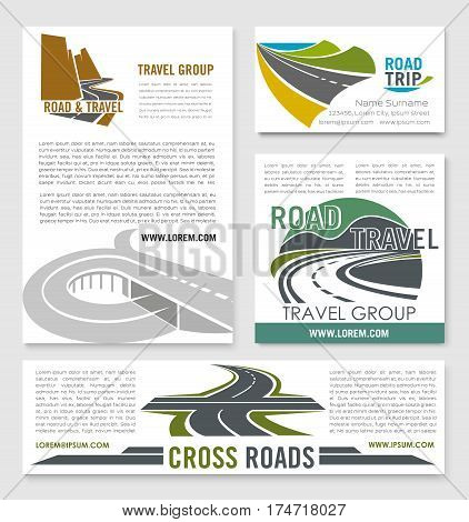 Road travel banner template set. Road trip and car journey poster with mountain highway, crossroad and coastal freeway symbols for transportation services, travel and tourism themes design