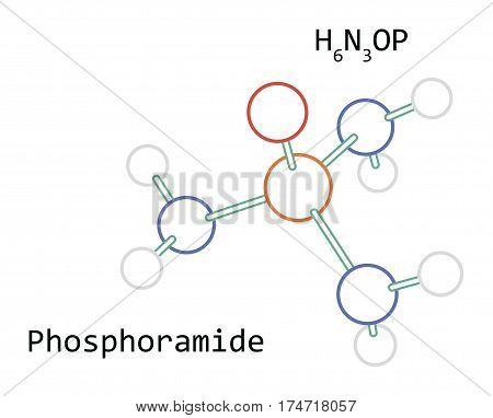 molecule H6N3OP Phosphoramide isolated on white in vector