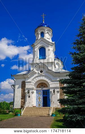 Church St. - Intercession on a background of blue sky old architecture religious places Belarus Village Red Molodechno District