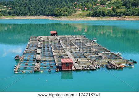 fishery in the Zaovine Lake, Serbia