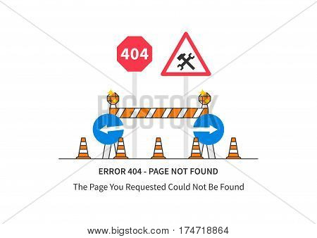Error 404 page with road construction signs vector illustration on white background. Broken web page graphic design. Error 404 page not found creative template.