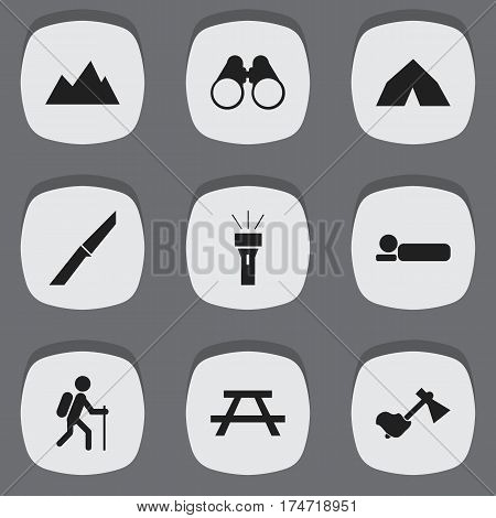 Set Of 9 Editable Travel Icons. Includes Symbols Such As Field Glasses, Tepee, Peak And More. Can Be Used For Web, Mobile, UI And Infographic Design.