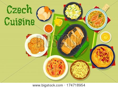 Czech cuisine traditional dishes icon with rabbit in beer sauce, marinated sausage with onion, baked carp, potato pancake, bacon and pork with pickles on flatbread, beer ice cream, potato salad