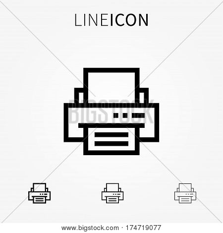 Printer vector icon. Print symbol line art. Office printer outline pictogram.