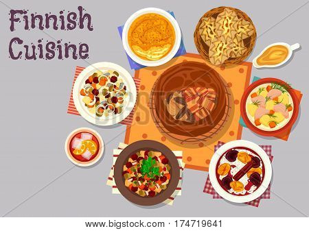Finnish cuisine traditional dishes icon with fish bacon pie, salmon cream soup, vegetable herring salad, beet salad, rye pie with rice, turnip casserole with cream, rice porridge with fruit