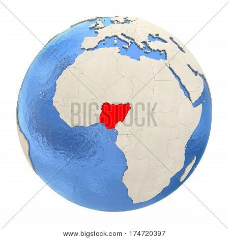 Nigeria In Red On Full Globe Isolated On White