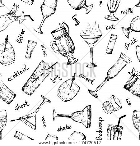 Cocktails - black and white seamless pattern with hand-drawn drinks and text