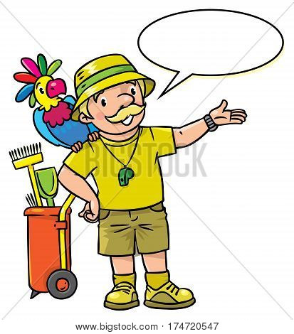 Funny zoo keeper or zoologist. A man dressed in panama hat, t-shirt and shorts with parrot and the service cart. Profession series. Childrens vector illustration. With balloon for text
