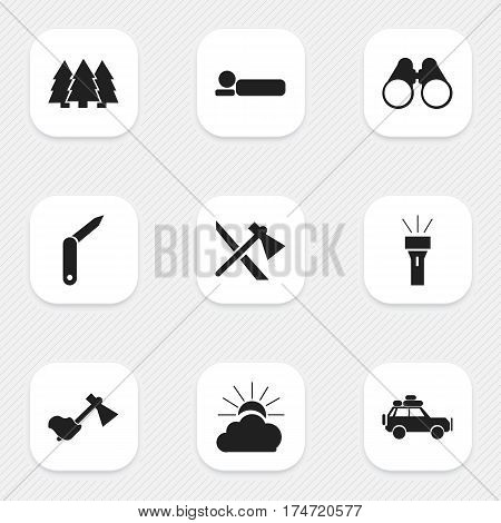 Set Of 9 Editable Travel Icons. Includes Symbols Such As Pine, Field Glasses, Voyage Car And More. Can Be Used For Web, Mobile, UI And Infographic Design.