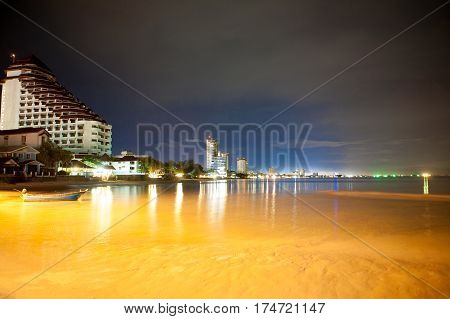 Night View Of Beach At Huahin Thailand