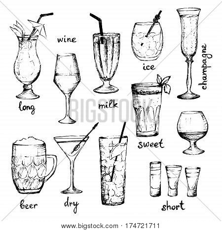Cocktails - set of hand-drawn drinks with text