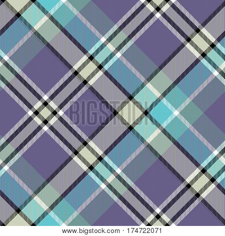 Blue gray color check plaid seamless fabric texture. Vector illustration.
