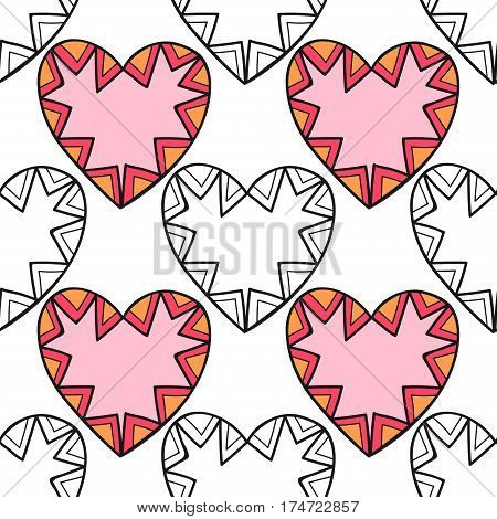 Seamless pattern with decorative hearts for coloring book, page. Romantic ornament. Vector illustration