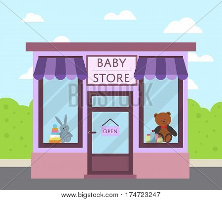 Facade baby store building with sign board, awning and toys in shop window vector illustration. Concept front kids market along city street in flat design. Baby care product and toys.