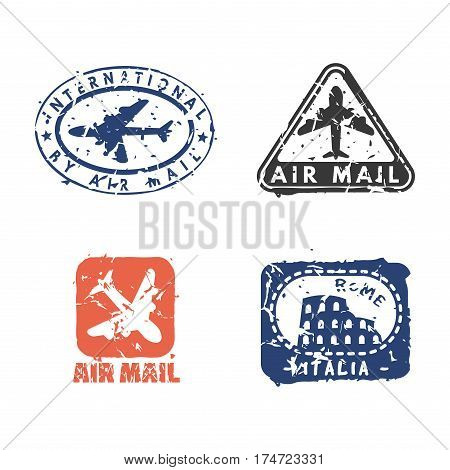 Vector set of vintage postage mail stamps. Retro delivery collection grunge print. Postmark design correspondence sign. Antique communication template texture.