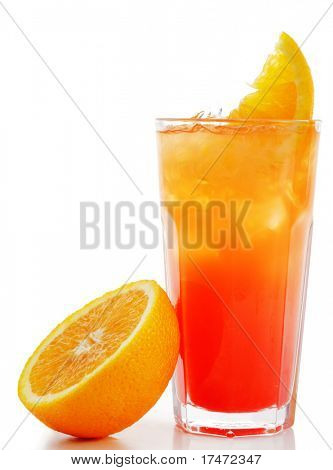 Refreshment Alcoholic Drink with Tequila, Orange Juice, and Grenadine Syrup. Isolated on White Background.
