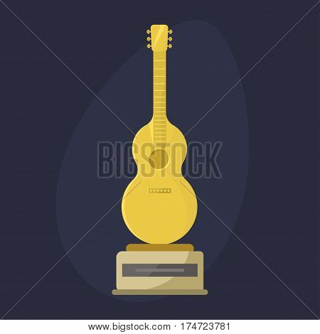 Gold rock star trophy music notes best entertainment win achievement clef and sound shiny golden melody success prize pedestal victory guitar vector illustration. Champion competition honor sign.