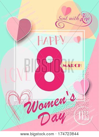 8 March Happy Women's Day. Eighth March Greeting card. 8th march international women's day Spring Holiday. Futuristic, modern design. Vector illustration.