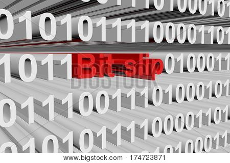 bit slip in the form of binary code, 3D illustration