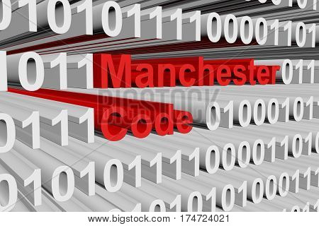 manchester code as a binary code 3D illustration