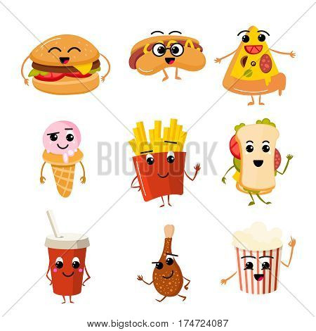 Funny fast food vector characters. Hamburger and beverage, tasty fast food hot dog with face, character pizza and leg of chicken illustration