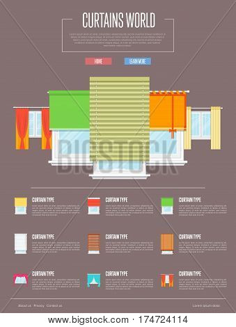 Curtains world concept in flat design vector illustration. Window with colorful curtains, jalousie, drapery, shades, blinds collection. Design studio of window treatments, interior elements retail