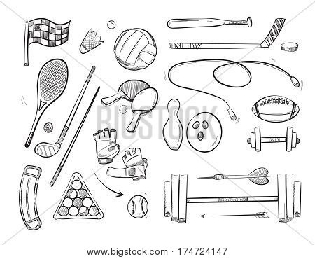 Doodle sketch sports and fitness vector icons. Sketch ball for volleyball and drawing sketch skipping rope and badminton illustration