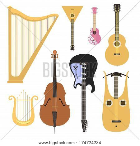 Set of stringed musical instruments classical orchestra art sound tool and acoustic symphony stringed fiddle wooden equipment vector illustration. Vintage performance classic folk rock artistic sign.