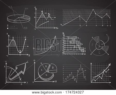 Hand drawn finance business charts, diagrams, pie graph doodle vector elements. Business graphic on chalkboard, illustration of hand drawn chart chalk board