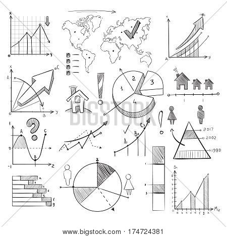 Population demography doodle vector infographic with hand drawn charts, pie graphs, diagrams, world map and sketch people icons. Infographic global illustration