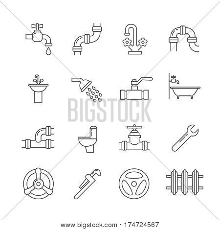 Plumbing, sewerage, pipe, faucet thin line vector icons set. Pipe and valve to bathroom and toilet, shower and part of pipe illustration