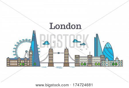 London city view, urban skyline with buildings, europe landmarks modern flat vector illustration. Famous of architecture London city, big ben and bridge