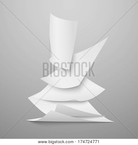 Falling document blank white papers, pages vector illustration. Blank clear fly paper, illustration of file paper sheet in space