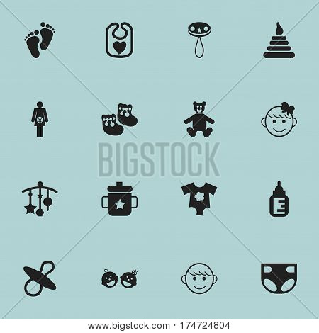 Set Of 16 Editable Baby Icons. Includes Symbols Such As Small Dresses, Footmark, Merry Children And More. Can Be Used For Web, Mobile, UI And Infographic Design.