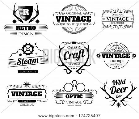 Vintage vector hipster logos and labels set with deer horns. Hipster logo for boutique or cafe, ilustration of emblem with horns