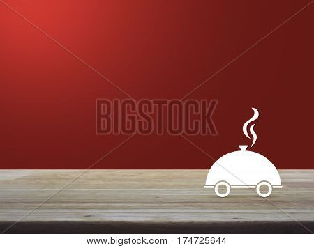 Restaurant cloche flat icon on wooden table over red gradient background Food delivery concept