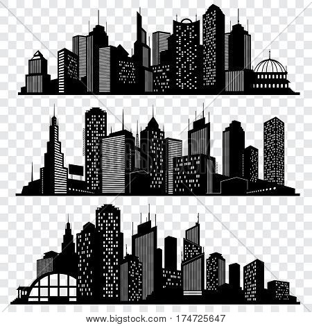 Cityscapes, town skyline buildings, big city silhouettes vector set. Black building town, silhouette of modern skyscraper building illustration