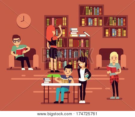 Bibliotheca, school library interior with student vector illustration. College library interior, university bookstore or library